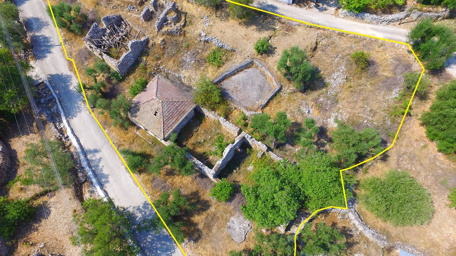 Aerial view and boundaries of house and ruins for sale in Ithaca Greece Perachori