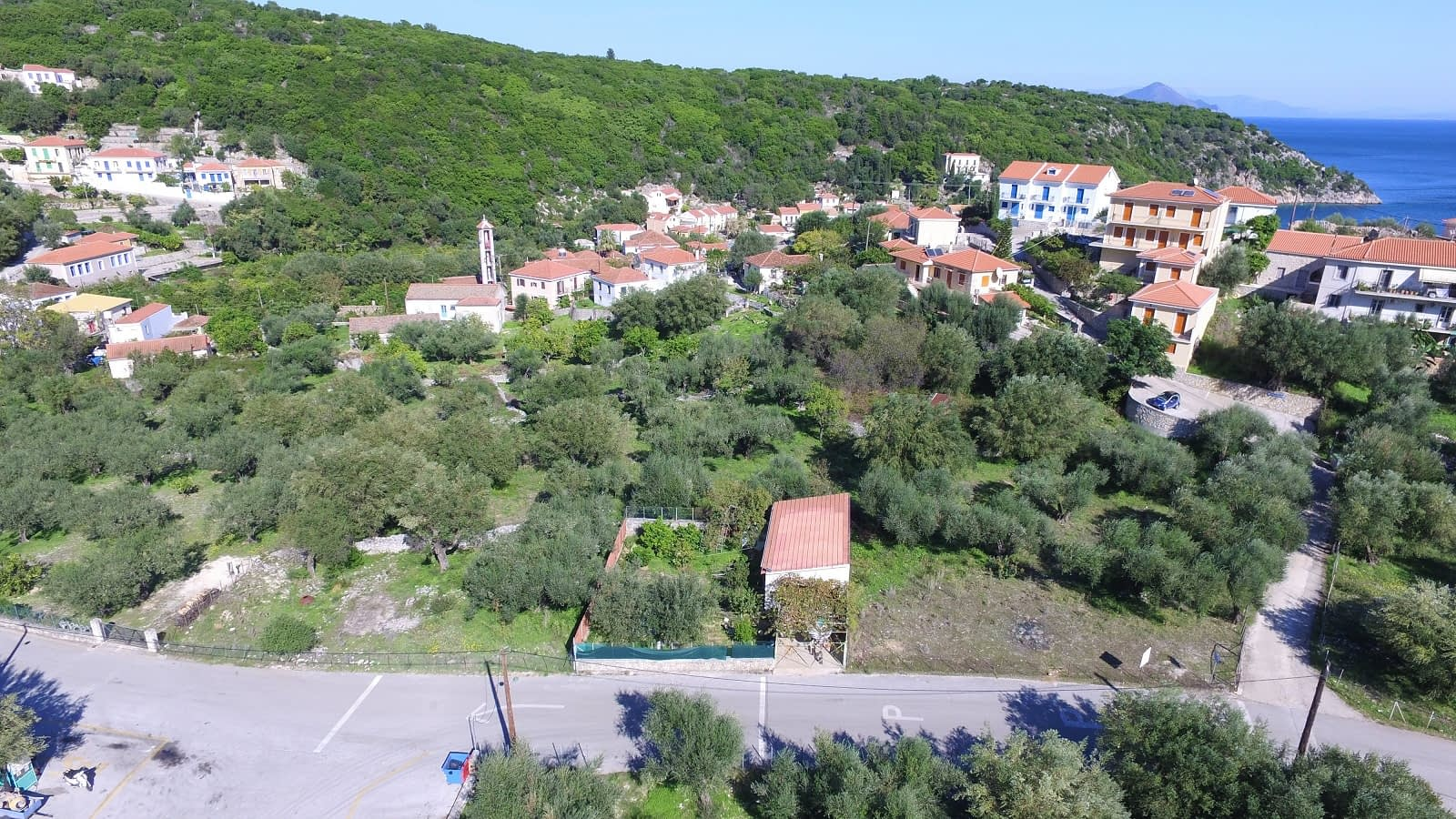 Aerial view of land for sale Ithaca Greece Kioni