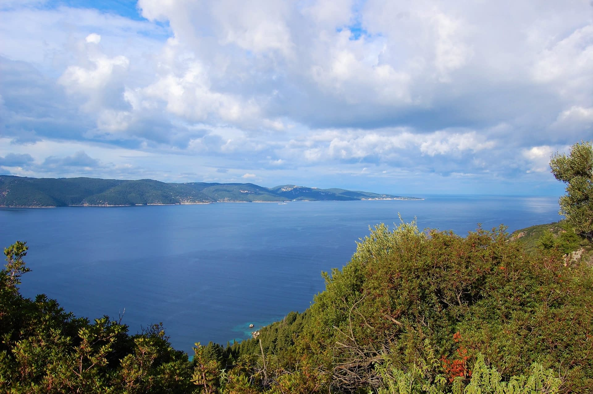 Landscape and sea view of land for sale in Ithaca Greece Lefki