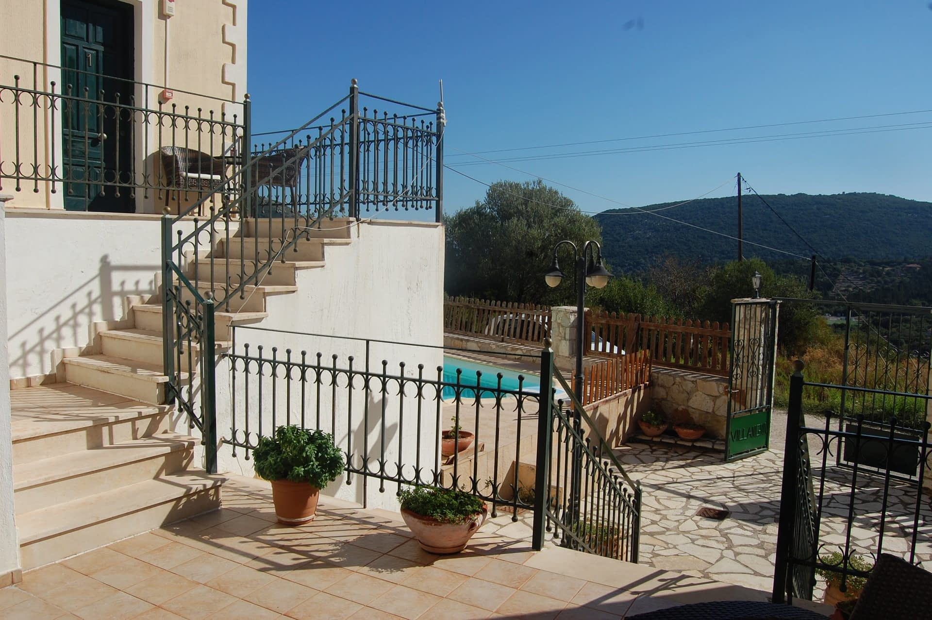 Stone terrace of Iriana Village for rent in Ithaca Greece, Stavros