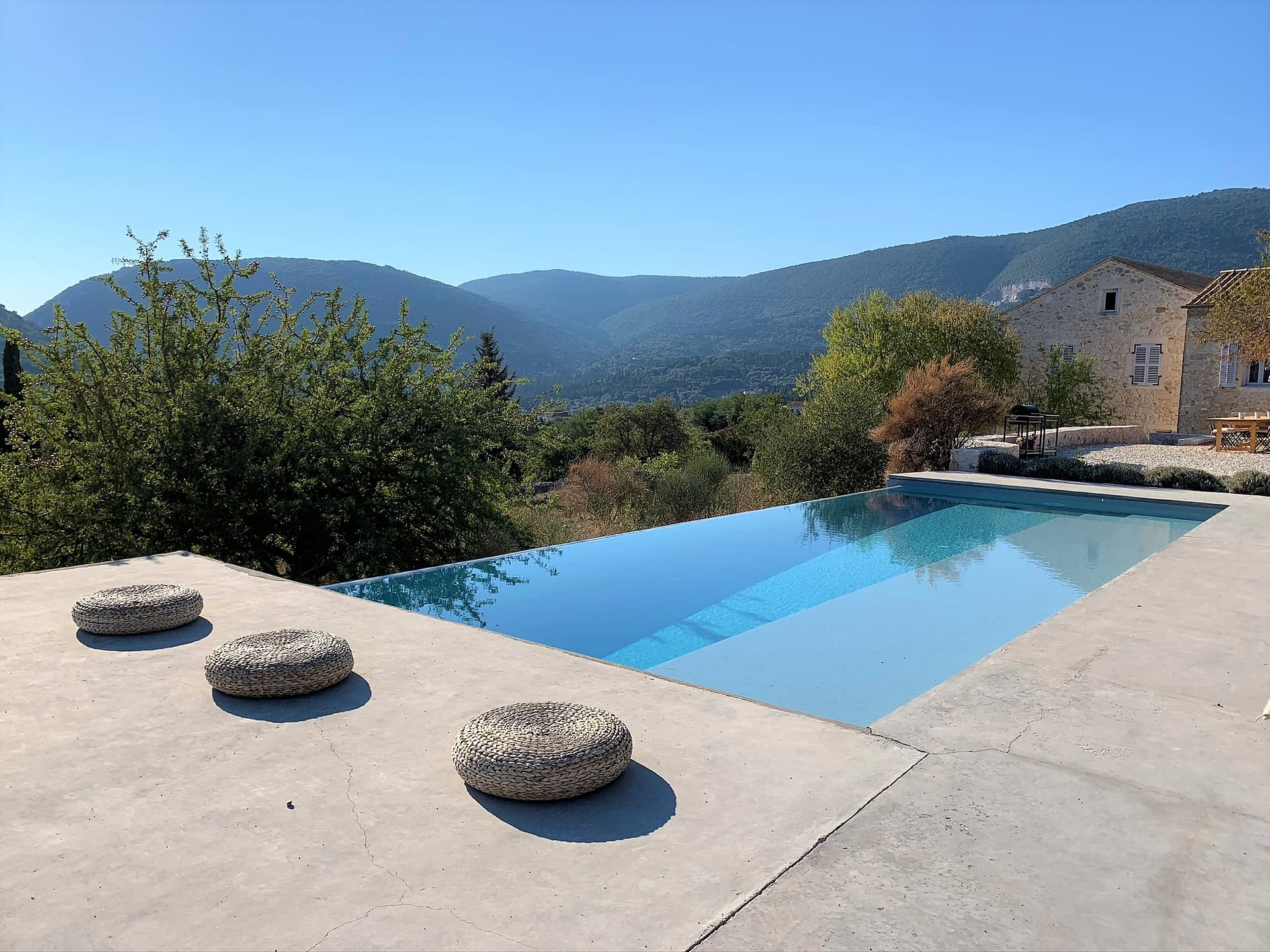 Salt water pool area at Villa Kalos for rent, Ithaca Greece Lahos