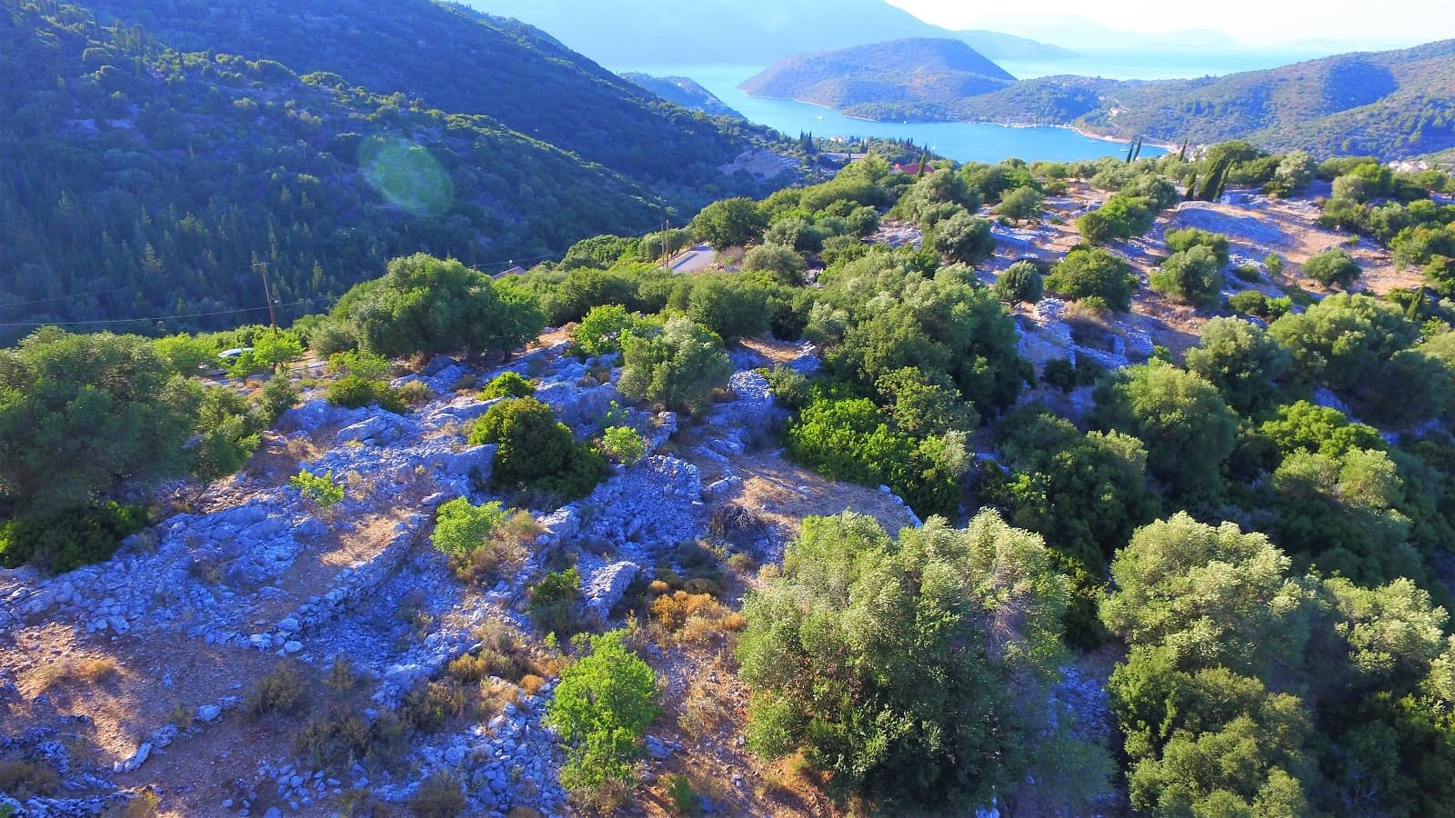 Landscape and terrain of property for sale in Ithaca Greece Perachori