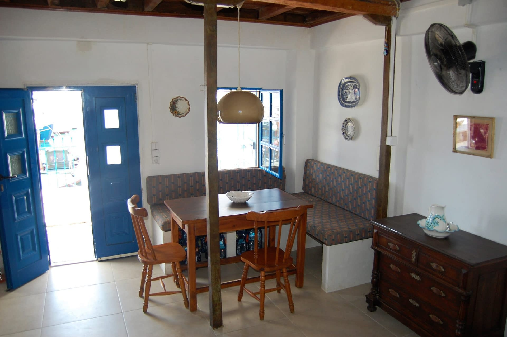 Interior living area of house for rent in Polis Bay Ithaca Greece