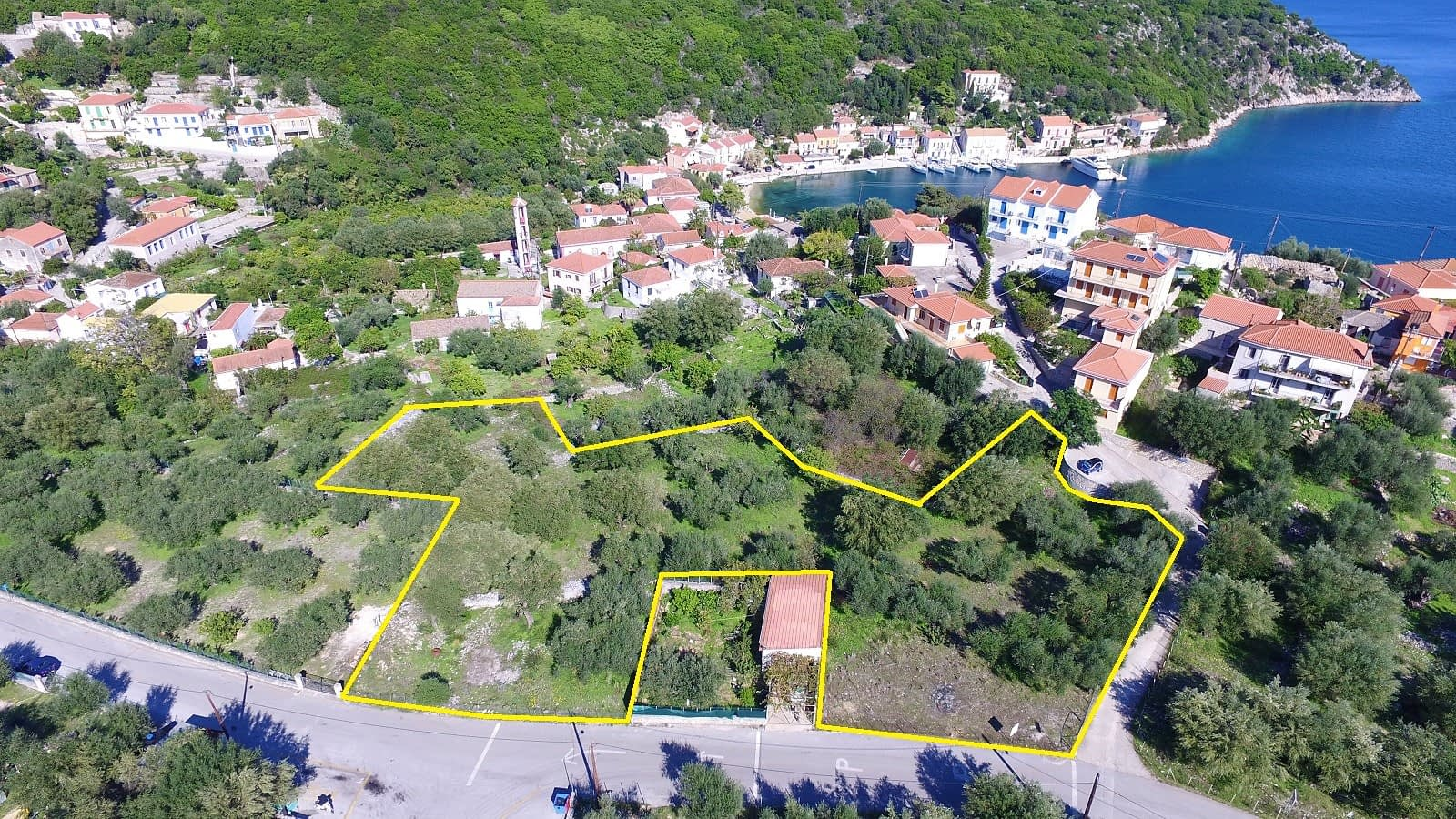 Aerial view and borders of land for sale Ithaca Greece Kioni